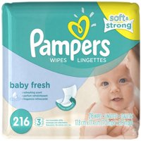 3 Pack - Pampers Soft Care Baby Wipes Refills, Baby Fresh 216 ea