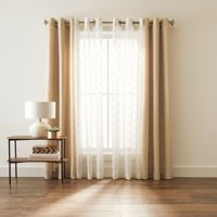 Better Homes & Gardens Embroidered Sheer and Twill Window Curtain, 4 Piece Set
