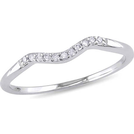 - Diamond-Accent 10kt White Gold Curved Wedding Band