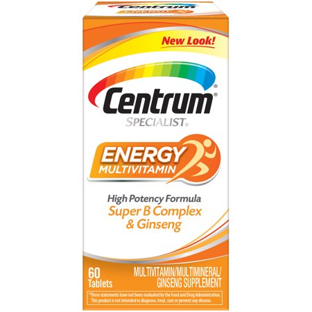 - Centrum Specialist Energy Adult 60 Ct Multivitamin / Multimineral Supplement Tablet, Vitamin D3, C, B-Vitamins and Ginseng