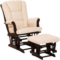 Storkcraft Tuscany Glider and Ottoman, Beige Cushions, Espresso Finish
