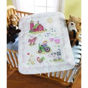 Bucilla Baby Stamped Cross Stitch Crib Cover Kit by Plaid, On the Farm, 34