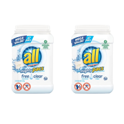 (2 pack) all Mighty Pacs Laundry Detergent, Free Clear for Sensitive Skin, Tub, 67 Count