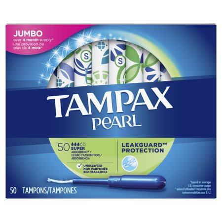 TAMPAX Pearl, Plastic Tampons, Super Absorbency, Unscented, 50