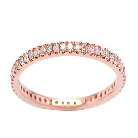 10k Rose Gold Eternity Diamond Wedding Band (1/3 cttw, I-J Color, I2-I3 Clarity) - April Wedding Colors