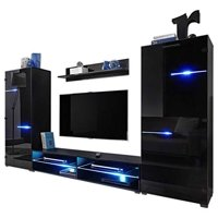 "Modern Entertainment Center Wall Unit LED Lights 70"" TV Stand, Black"