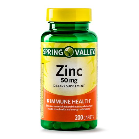 Spring Valley Zinc Caplets 50 Mg 200 Ct Walmart Com