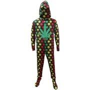 Rasta Ganja Weed Leaf Footie Onesie Pajamas with Hood 1cb63e8fe