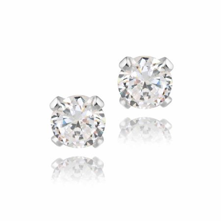 - 1/2 Carat T.G.W. CZ Sterling Silver Stud Earrings, 4mm