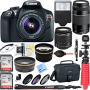 Canon EOS Rebel T6 Digital SLR Camera w/ EF-S 18-55mm IS + EF-S 75-300mm Lens Bundle includes Camera, Lenses, Bag, Filter Kit, Memory Card, Tripod, Flash, Cleaning Kit, Beach Camera Cloth and More