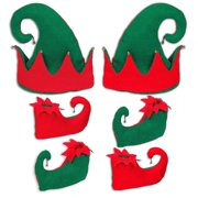 08fd913c54629 4E's Novelty Christmas Santa Elf Shoes & Hat Costume Accessories Set, Red  and Green,