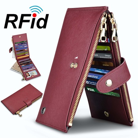 Njjex Womens Walllet RFID Blocking Bifold Multi Card Case Wallet with 2 Zipper Pockets 3 Part Show Card Wallet