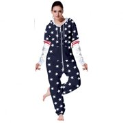 981a75a85aa47 SkylineWears Womens Fleece Onesie One Piece Pajama Jumpsuit US Flag Allover  Stars X-Large