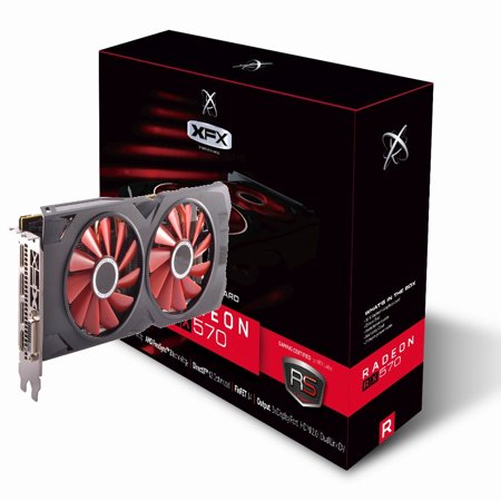 XFX AMD Radeon RX 570 Black Edition 1328MHz, 8gb 256bit GDDR5, DX12 VR Ready, Double Dissipation, Dual BIOS, 3xDP HDMI DVI, PCI-E AMD Graphics Card - RX-570P8DBD6