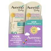 Aveeno Baby Continuous Protection Zinc Oxide Mineral Sunscreen, SPF 50, Pack of 2