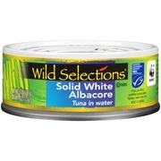 (2 Pack) Wild Selections Solid White Albacore Tuna in Water, Canned Tuna Fish, High Protein Food, 5oz Can