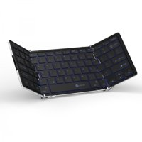 iClever Wireless Folding Keyboards Bluetooth Tablet Keyboard, Tri-folding Bluetooth Keyboard with Aluminum Alloy Base for Tablets, Smartphones, Laptops, PC [3-Color Back lights]