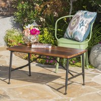 Cascada Outdoor Industrial Acacia Wood Coffee Table with Iron Accents, Antique Finish, Black