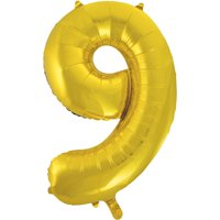 Foil Big Number Balloon, 9, 34 in, Gold, 1ct