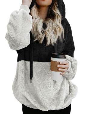 711ONLINESTORE Women Fuzzy Fleece Drawstring Zipped Front Long Sleeve Hoodies Outwear