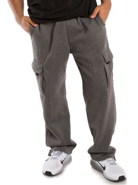 Vibes Men's Charcoal Gray Fleece Cargo Pants Relax Fit Open Bottom Drawstring