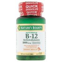 Nature's Bounty B-12 Methylcobalamin 1000 Mcg Quick Dissolve Tablet, 60 Ct