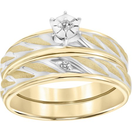 Diamond Accent Rope Design 10kt Yellow Gold Bridal (Diamond Accent Bridal Set)