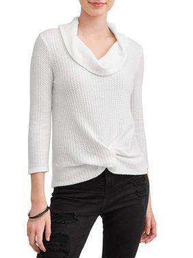No Boundaries Juniors' Waffle Knit Twist Front Cowl Neck Sweater
