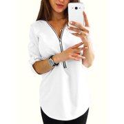 3555470137117b Women Casual Zip Neck Tops Shirt Ladies V Neck Zipper Loose T-Shirt Fashion  Summer