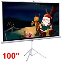"Yaheetech 100"" Projector 16:9 Projection Screen HD Adjustable Tripod Manual Pull-down 87"" x 49"" Portable Foldable Stand"