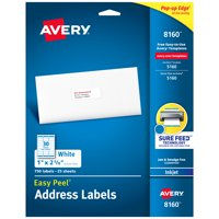 "Avery Easy Peel Address Labels, Sure Feed Technology, Permanent Adhesive, 1"" x 2-5/8"", 750 Labels (8160)"