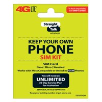 Straight Talk SIM Card for AT&T Tower GSM Network 3-in1 Cut (/Nano/Micro/Standard)