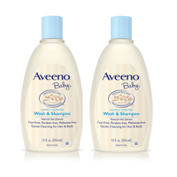 (2 Pack) Aveeno Baby Gentle Wash & Shampoo with Natural Oat Extract, 12 fl. oz