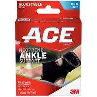 ACE Neoprene Ankle Support, One Size Adjustable, Black, 1/pack