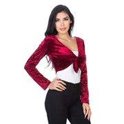 d7066bcb76c49 Fashion Secrets Women`s Front Knot Tie Velvet Bolero Shrug Cardigan Jacket