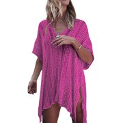 7e93ce59d6 Knit Beach Cover up Women Hollow Out Bathing Suit Bikini Swimsuit Swimwear  Crochet Dress V Neck