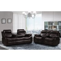 Vivienne Dark Brown Leather Air 2 pc Reclining Sofa and Loveseat set