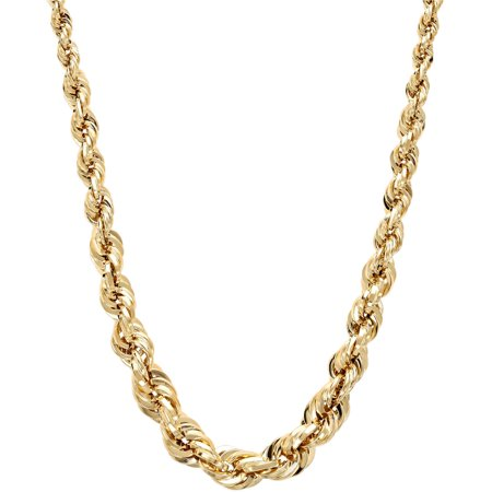 10kt Gold 2.2-6mm Graduated Rope Necklace