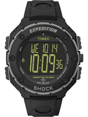Men's Expedition Shock XL Vibrating Alarm Watch, Black Resin Strap