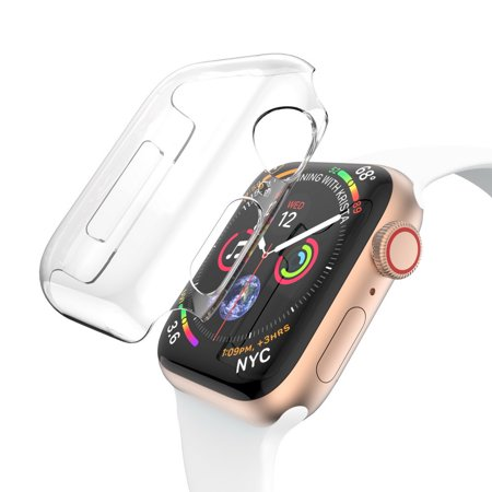 For Apple Watch Series 4 44mm Case, Full Cover Protector Crystal Clear Snap On Cover Case Perfect Fit For Apple Watch Series 4 44mm (Anti-Scratch)(Shock Absorption)(Fingerprint-proof) Clear Crystal Case Protector Cover