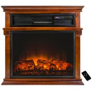 """AKDY FP0059 29"""" Freestanding Electric Fireplace Heater Stove w/ Wooden Brown Mantel Remote Control"""