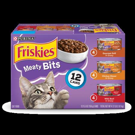 Gravy Bites ((12 Pack) Friskies Gravy Wet Cat Food Variety Pack, Meaty Bits, 5.5 oz. Cans )