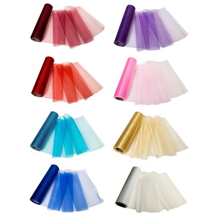 11 inches x 27 Yards Organza Roll Soft Sash Fabric Wedding Chair Cover Bows Table for Party, 8 Colors (Wedding Colour)