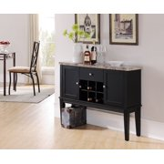 Everett Black & Marble Wood Contemporary Wine Rack Buffet Display Console Table With Storage Drawer & Cabinet Doors