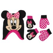 3e1e572b545 Disney Little Girls Minnie Mouse Hat and 2 Pairs Mittens Gloves Cold  Weather Accessory Set