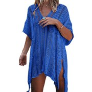 a74ccab7a445c Womens Vintage Crochet Lace Bikini Swimsuit Cover Ups Hollow Out Beach  Dresses V-neck Summer