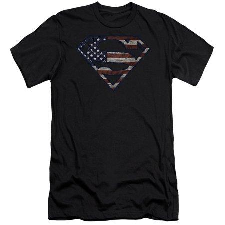 Superman DC Comics Superhero Wartorn Flag S Shield Logo Adult Slim T-Shirt Tee