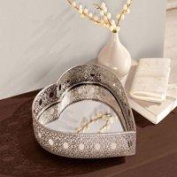 Metal Heart Shaped Mirror Vanity Tray