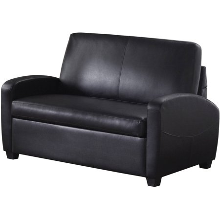 Mainstays 54 Faux Leather Loveseat Sleeper Black Walmartcom