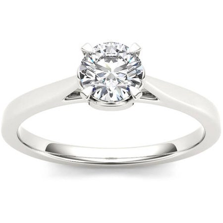 1 Carat T.W. Diamond Solitaire 14kt White Gold Engagement Ring 1/4 Carat Blue Diamond Solitaire